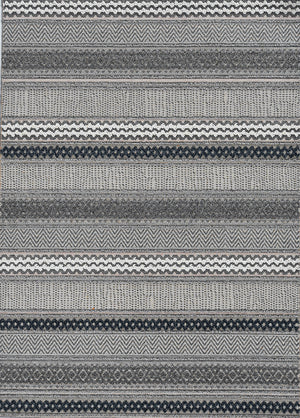 Outdoor Rug - Striped Grey