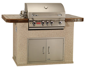 Shown with Stucco Rock 12 Base, Alchemy Copper Tile, Angus Grill Head, 30 inch Double Door