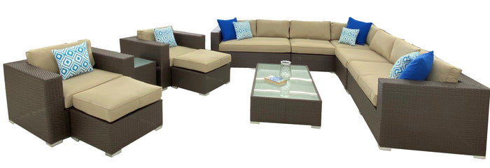 11 Piece Modular Seating Set w/ Arm chairs and Ottomans