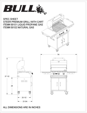 Bull Steer Grill Complete Cart