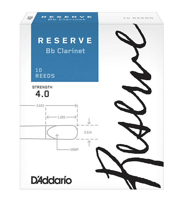 D'Addario Reserve Reeds Bb Clarinet - Box of 10