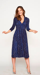 WRAP DRESS Denim Snow Dots