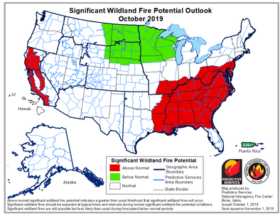 California and the Southeast expected to have above normal wildfire activity