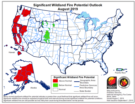 August 2019 Potential WilfFire Hazard Hot Spots