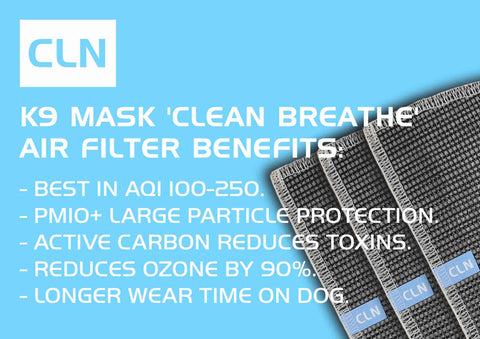 Clean Breathe K9 Mask® con Pm10 + e filtri dell'aria ai carboni attivi