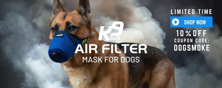 K9 Mask® Air Filter Mask for Dogs in Wildfire Smoke, Dust, Ash, Chemicals, Smog, Allergy, Pollen