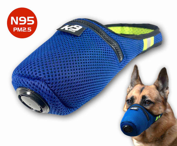 K9 Mask® til hunde med 'Extreme Breathe' N95 & Active Carbon Air Filtre - Blå