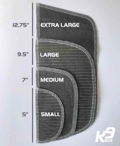 K9 Mask Air Filter Refill Length Fit Size Chart
