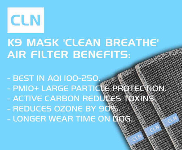 Clean Breathe K9 Mask® with PM10+ Active Carbon Filters