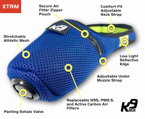 Custom Color K9 Mask® Features Air Filter for Dogs Extreme Breathe