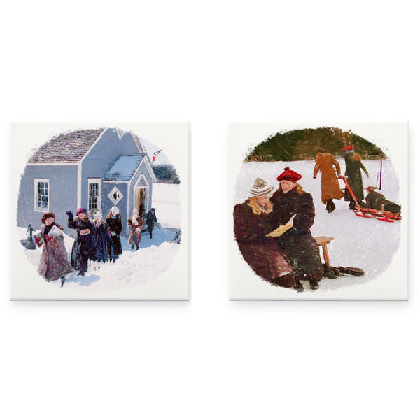 Avonlea Winter Days Pencil Sketch Canvas Prints