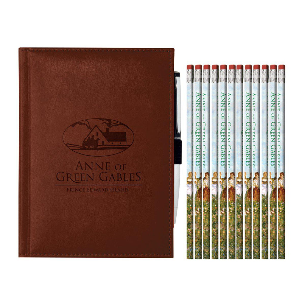Anne of Green Gables Leather Bound Journal And Kindred Friends Pencils set