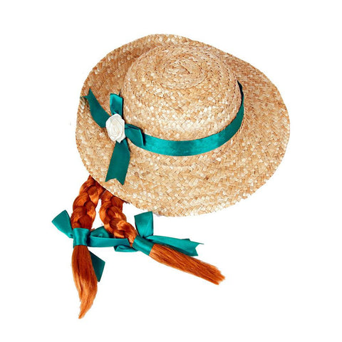 Anne of Green Gables Hat with braids costume