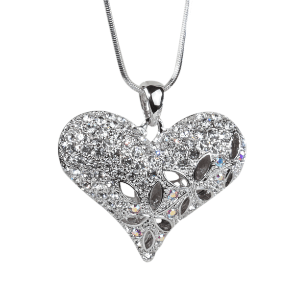Crystal Flower and Heart Pendant Necklace