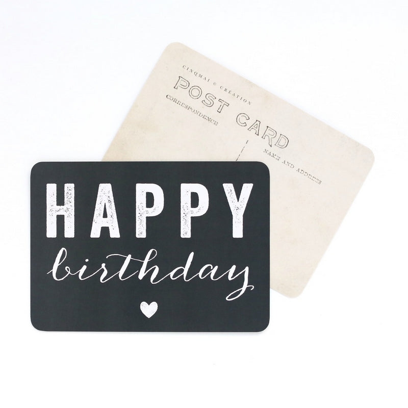Carte Happy Birthday Noir Cinq Mai