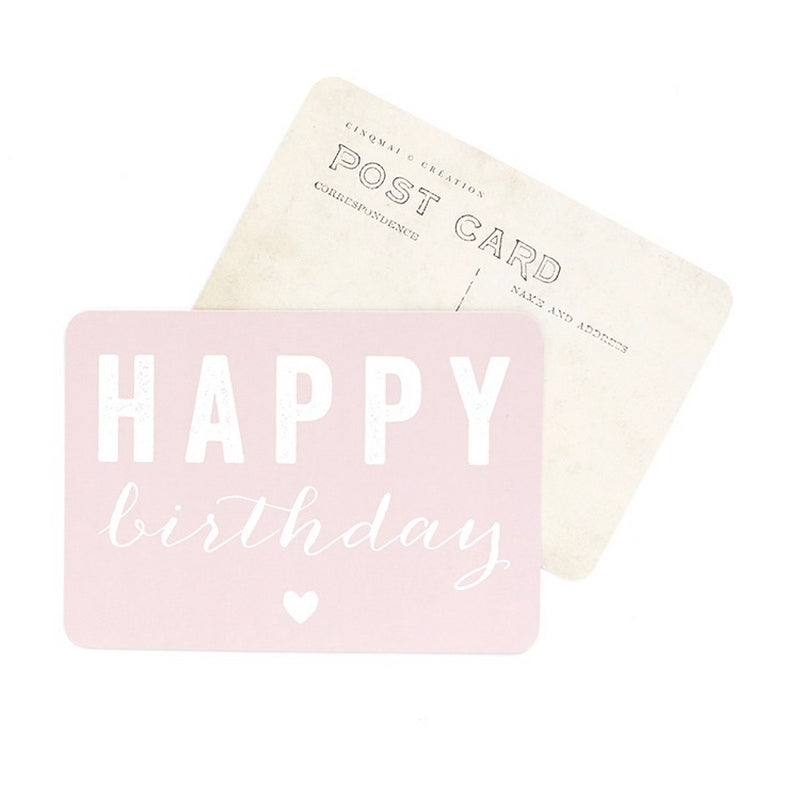 Carte Happy Birthday Rose Poudré Cinq Mai