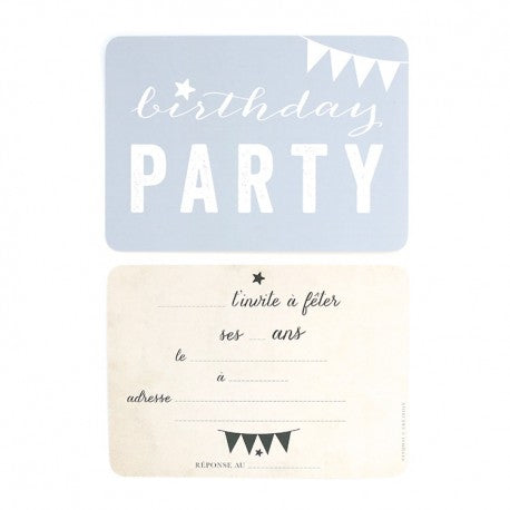 Carte Invitation Birthday Bleu Cinq Mai