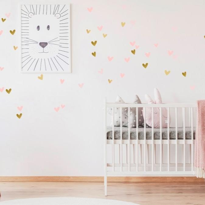 Stickers Coeurs Muraux Or et Rose