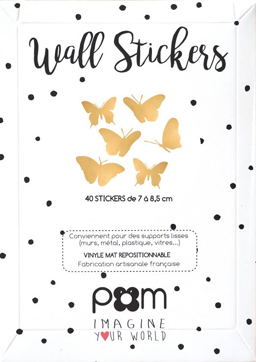 Stickers muraux papillons or