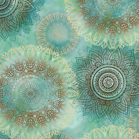 Quilting Treasures Arabesque Teal Multi