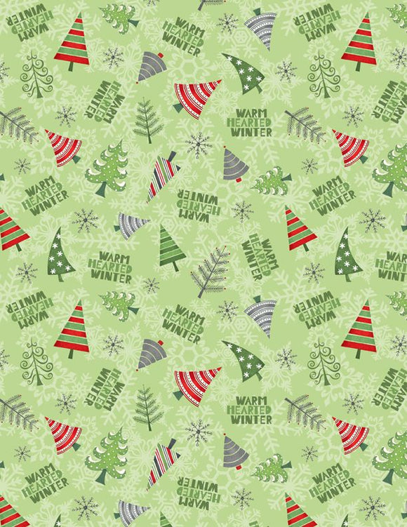 Wilmington Prints Winter Gnomes Light Lime
