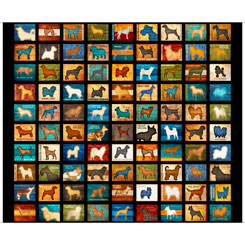 "Quilting Treasures Must Love Dogs Black Multi 24"" Panel"