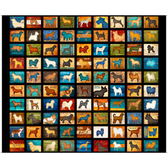 Quilting Treasures Must Love Dogs Black Multi 24