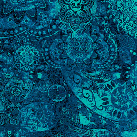 Quilting Treasures Bohemian Rhapsody Dark Teal