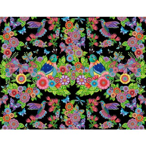 Wilmington Prints Rainbow Flight Black Multi