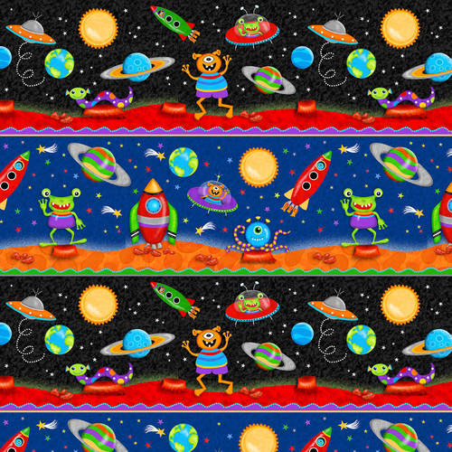 Studio E Fabrics Lost In Space Black Multi