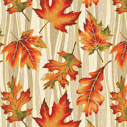 Benartex Autumn Leaves Cream