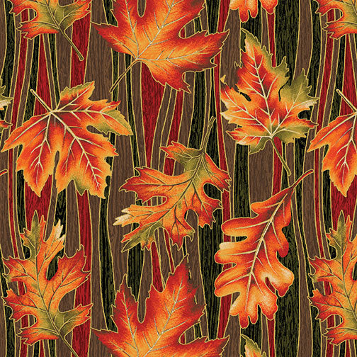 Benartex Autumn Leaves Brown Multi