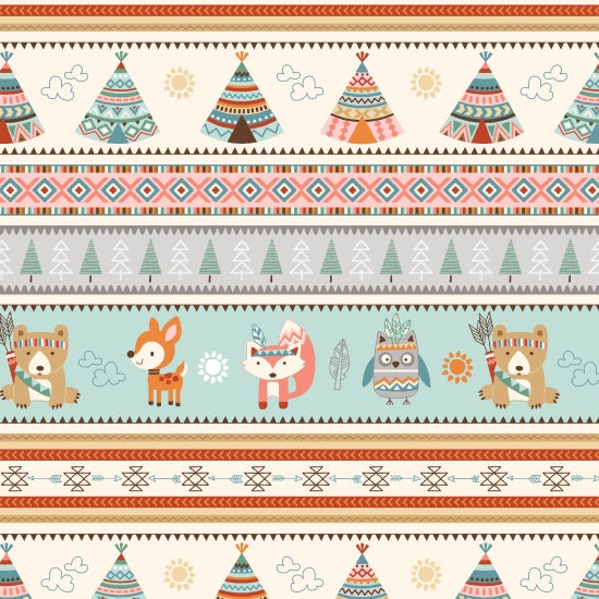 Studio e Fabrics Camp-A-Long Critters Cream Multi