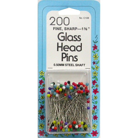 Collins Glass Head Pins 200 Count