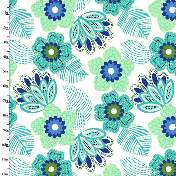3 Wishes Fabric Carnivale Blue Lime