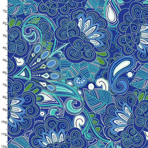 3 Wishes Fabric Carnivale Blue Royal