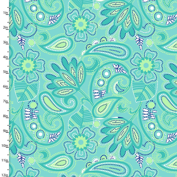 3 Wishes Fabric Carnivale Blue Turquoise