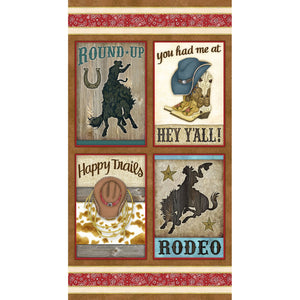 "Henry Glass Rodeo Roundup Brown Multi 24"" Panel"