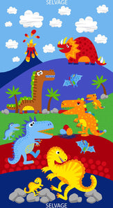 "Timeless Treasures Dino Parade Blue 24"" Panel"