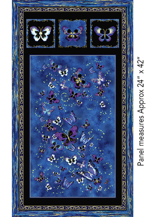 "Kanvas Butterfly Jewel Royal 24"" Panel"