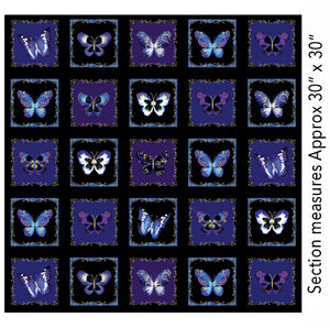 "Kanvas Butterfly Jewel Black 24"" Panel"