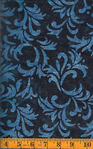 Clothworks Fresh Batiks Botanica Navy