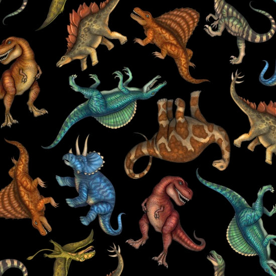 Quilting Treasures Jurassic Jungle Black Multi
