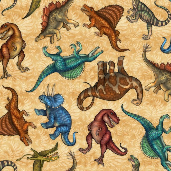 Quilting Treasures Jurassic Jungle Sand Multi