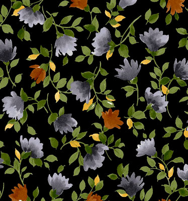 Exclusively Quilters Silver Garden Black