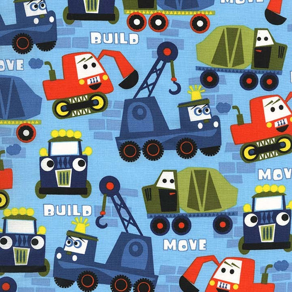 Michael Miller Little Movers Blue Multi