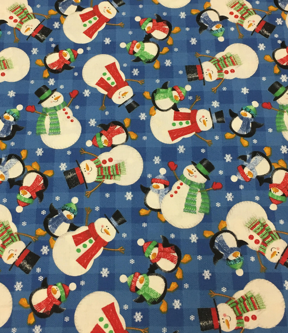 Fabri-Quilt Snowmen and Penguins Blue Multi