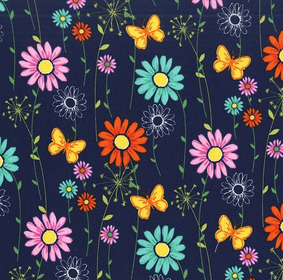 Michael Miller Doodle Daisy Navy Multi