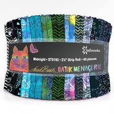 Clothworks Batik Menagerie Midnight Strip Roll