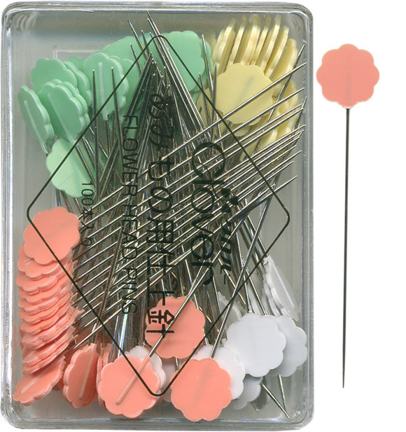 Clover Flower Head Pins 100 Count